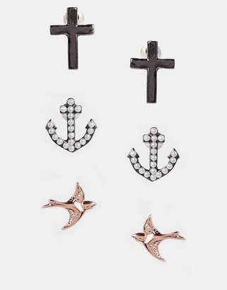 Asos Swallow & Anchor Earrings