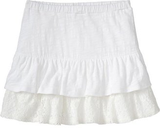 Old Navy Girls Tiered Lace-Trim Jersey Skorts
