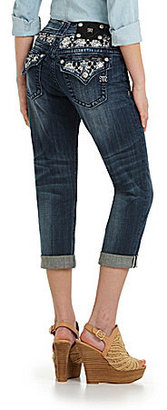 Miss Me Lace/Rhinestone Inset Capri Jeans