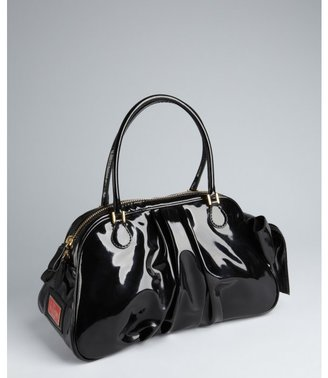 Valentino black pleated patent leather bow side small satchel