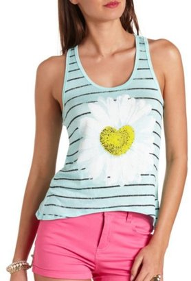 Charlotte Russe Daisy Heart Striped Graphic Tank Top