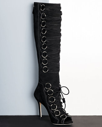 Brian Atwood Zeva Suede Lace-Up Boot, Black