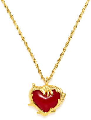Kenneth Jay Lane Red Heart Pendant Necklace