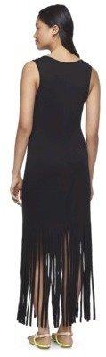 Xhilaration Junior's Maxi Dress with Fringe Bottom - Black
