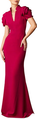 Badgley Mischka Notched Neck Rosette Short-Sleeve Column Gown