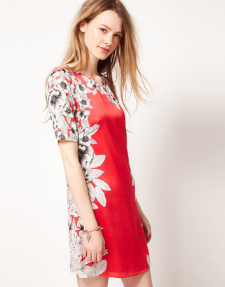 Warehouse Mirrored Floral Dress