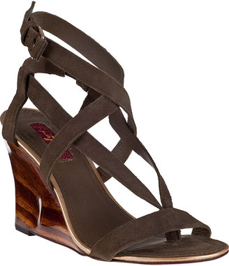 7 For All Mankind Cameo Wedge Sandal Khaki Suede