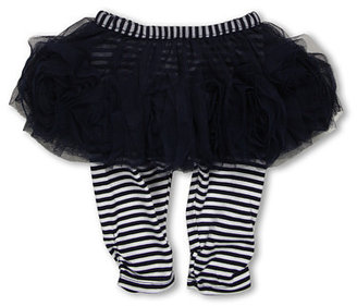 Biscotti Ship Shape Girls' White Tee with Navy Skirted Striped Legging (Infant)