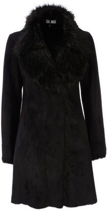Wallis Black Faux Sheepskin Coat