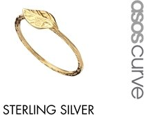 Asos Gold Plated Sterling Silver Leaf Ring - Gold