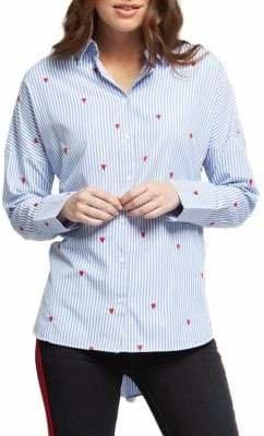 Dex Embroidered Pinstripe Button-Down Shirt