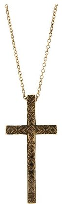 House Of Harlow Engraved Cross Pendant Necklace (14K Yellow Gold Plated) - Jewelry