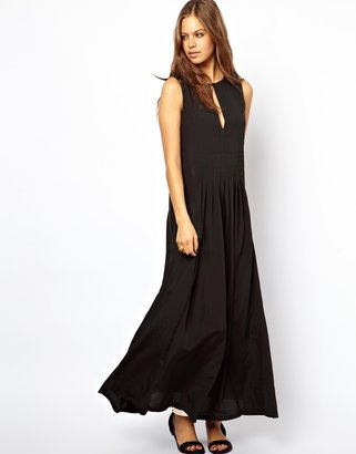 Asos Maxi Dress With Pleat Front Detail