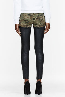 R 13 Olive green Camouflage & leather Chaps