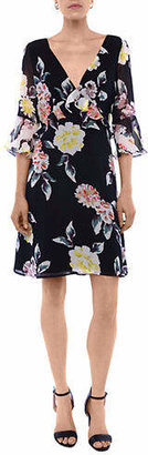 French Connection Floral Bell-Sleeves Day Dress