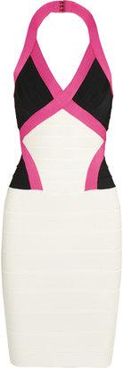 Herve Leger Color-block bandage mini dress