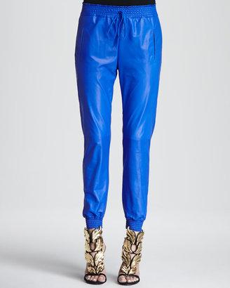Alexis Leather Smock-Trim Track Pants