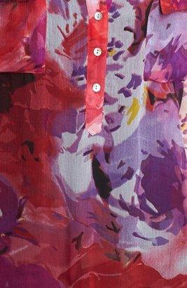 Casual Studio Roll Sleeve Sheer Blouse