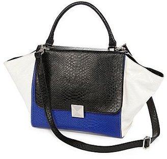 JCPenney Cosmopolitan Diva Trapezoid Flap Leather Tote