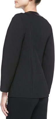Alexander Wang Zip-Up Blazer with Leather Detail, Onyx