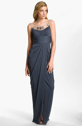Adrianna Papell Embellished Draped Mesh Gown
