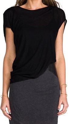 Heather Asymmetric Leather Detail Dress
