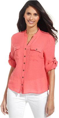 Elementz Petite Top, Three-Quarter-Sleeve Shirt