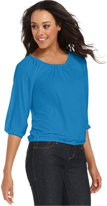 Charter Club Top, Three-Quarter-Sleeve Scoop-Neck