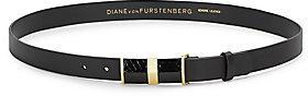 Diane von Furstenberg Tava Rattlesnake-Trim Leather Belt