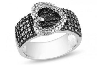 Ice 1/4 CT Black Diamond TW Silver and Black Rhodium Plated Fashion Ring