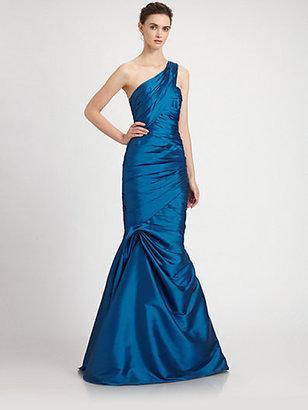 Monique Lhuillier ML One-Shoulder Taffeta Gown