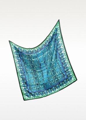 Roberto Cavalli Green and Turquoise Animal Print Silk Square Scarf