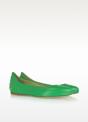 McQ by Alexander McQueen Goldtone Stud Green Leather Ballerina