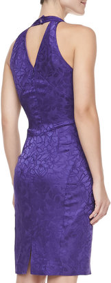 Zac Posen Jacquard Halter V-Neck Cocktail Dress, Violet