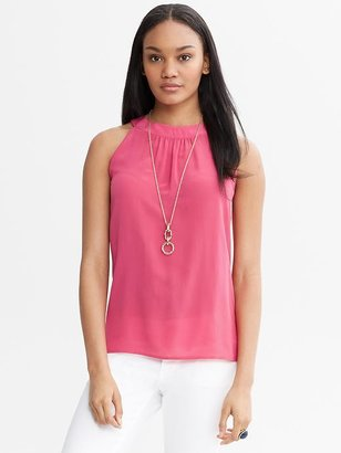Banana Republic Pink Silk Open-Back Top
