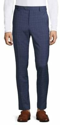 Black Brown 1826 Flat-Front Wool-Blend Suit Pants