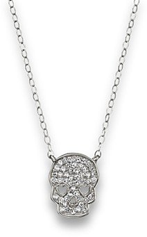 Bloomingdale's Micro Pave Diamond Skull Pendant Necklace in 14K White Gold, 0.14 ct. t.w.