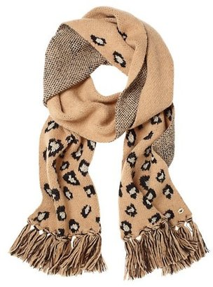 Juicy Couture Fiercely Spotted Leopard Fringe Scarf