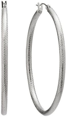 Apt. 9 silver tone textured oval hoop earrings
