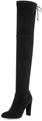 Stuart Weitzman Highland Suede Over-The-Knee Boot, Black $798 thestylecure.com