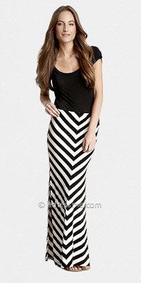 eDressMe Black White Stripe Skirt