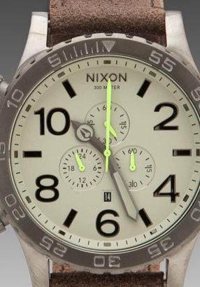 Nixon Gunsmith Collection The 51-30 Chrono Leather in Gunmetal/Brown