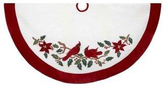 """Kurt Adler 48"""" Velvet Red & White w/ Cardinals Applique Treeskirt"""