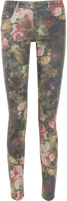 Haute Hippie Floral-print low-rise skinny jeans
