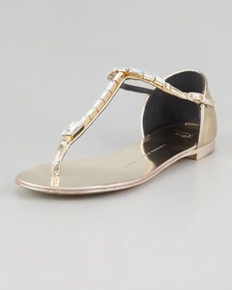 Giuseppe Zanotti Jeweled T-Strap Flat Thong Sandal, Gold