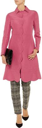 Valentino Scalloped cotton and silk-blend gabardine coat