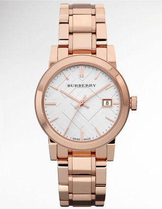 Burberry Ladies' Rose Gold Watch with Silver Check Dial
