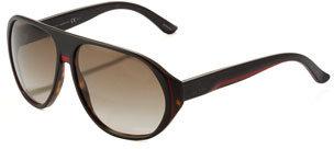 Gucci Web Plastic Aviator Sunglasses, Havana
