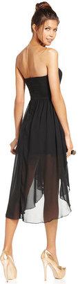 Trixxi Juniors Dress, Strapless Rhinestone High-Low