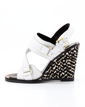 Derek Lam Gillis Calf-Hair-Wedge Sandal, White/Black